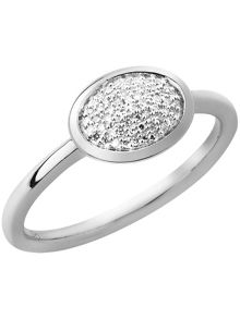 Diamond essentials silver oval ring