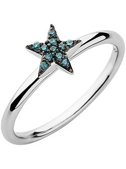 Diamond Essentials Blue Pave Star Ring