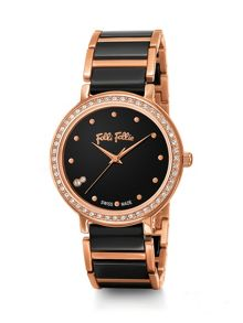 Folli Follie Checkmate large black crystal watch