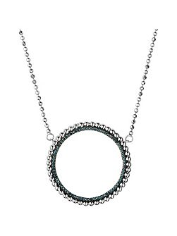 Effervescence blue diamond halo necklace