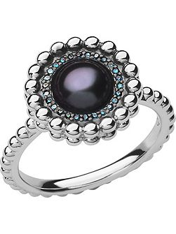 Effervescence blue diamond & pearl ring