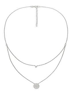 Fashionably silver sparkle ball necklace
