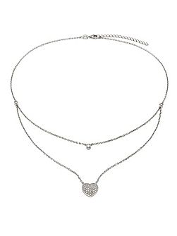Fashionably silver love hearts necklace