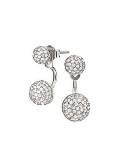 Fashionably silver orb earrings
