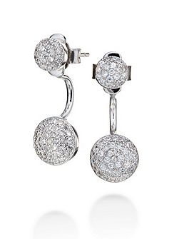 Fashionably silver sparkle ball earrings