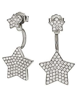 Fashionably silver starry sky earrings