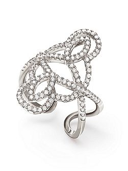 Fashionably silver swirl ring