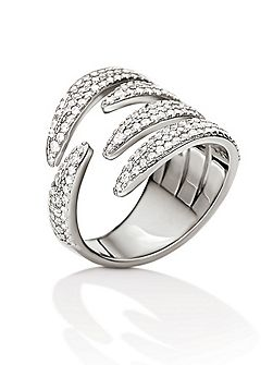 Fashionably silver wrap ring