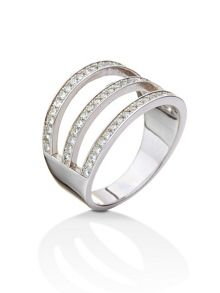Folli Follie Fashionably silver three row ring