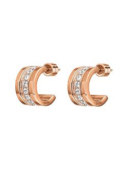 Touch rose gold mini hoop earrings