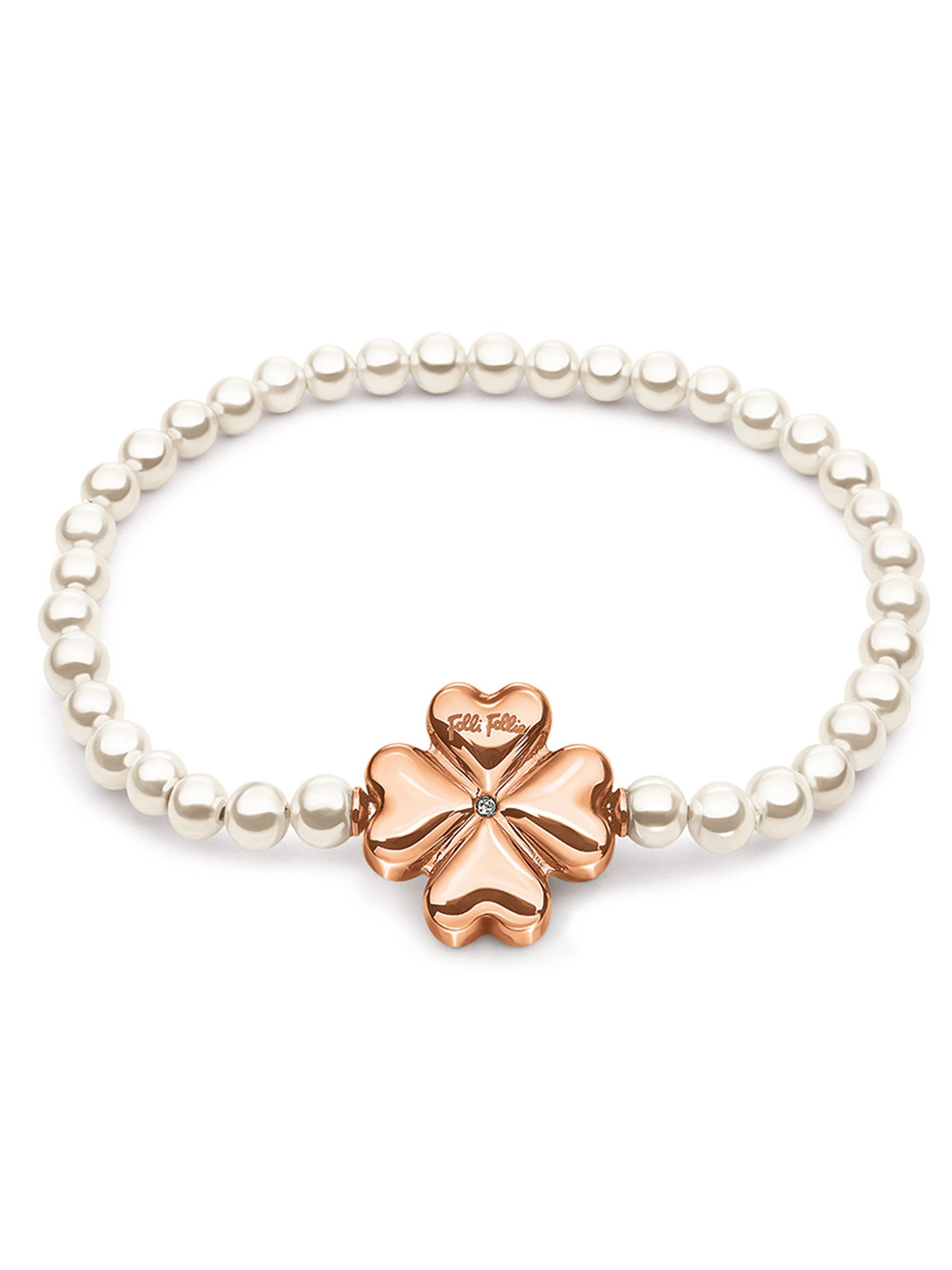 folli follie grace rose gold pearl bracelet
