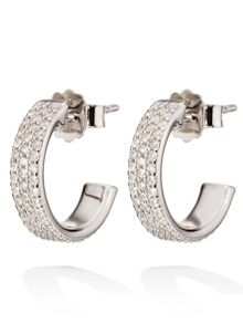 Folli Follie Fashionably silver sparkle hoop earrings