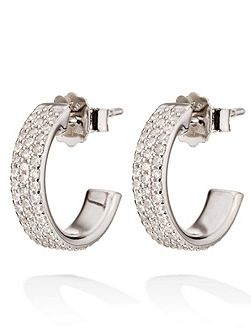 Fashionably silver sparkle hoop earrings
