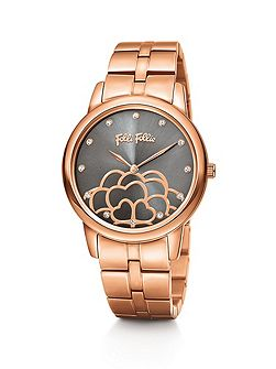 Santorini flower rose gold grey watch