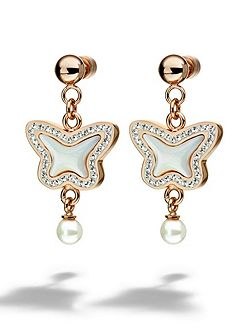 Butterfly rose gold drop earrings