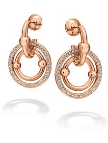 Folli Follie Bonds rose gold station drop earrings