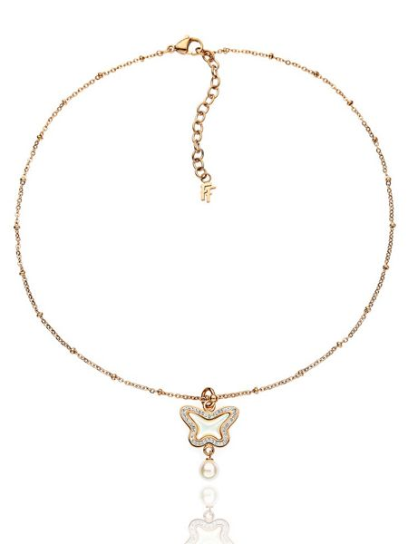 Folli Follie Butterfly rose gold necklace