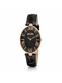 Folli Follie Romance black strap watch