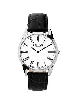Noble Mens Slim Black Leather Watch