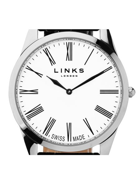 Links of London Noble Mens Slim Black Leather Watch