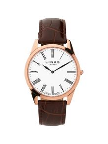 Links of London Noble Mens Slim Brown Leather Watch