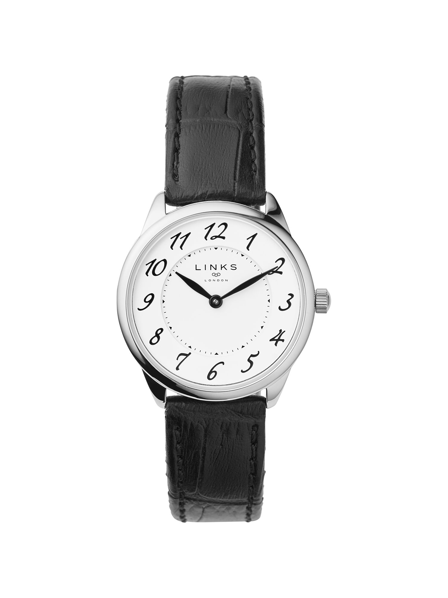 Links of London Narrative Womens Black Leather Watch Black