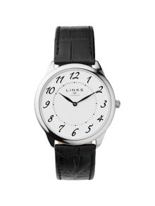 Links of London Narrative Mens Black Leather Watch