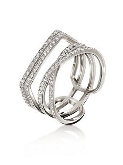 Fashionably silver band ring