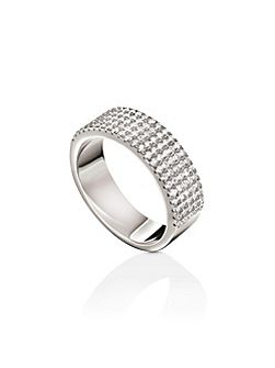 Fashionably silver thick band ring