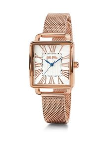 Folli Follie Retro square rose gold watch