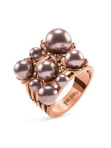 Folli Follie Grace flair pink pearl cluster ring