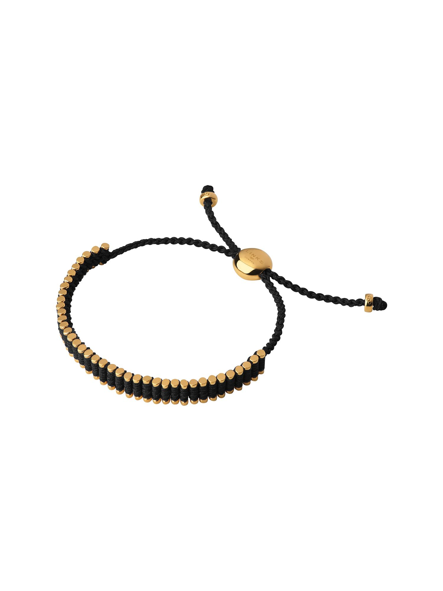 Links of London 18Kt Yellow Gold Vermeil & Black Mini Friendship, Gold Yellow