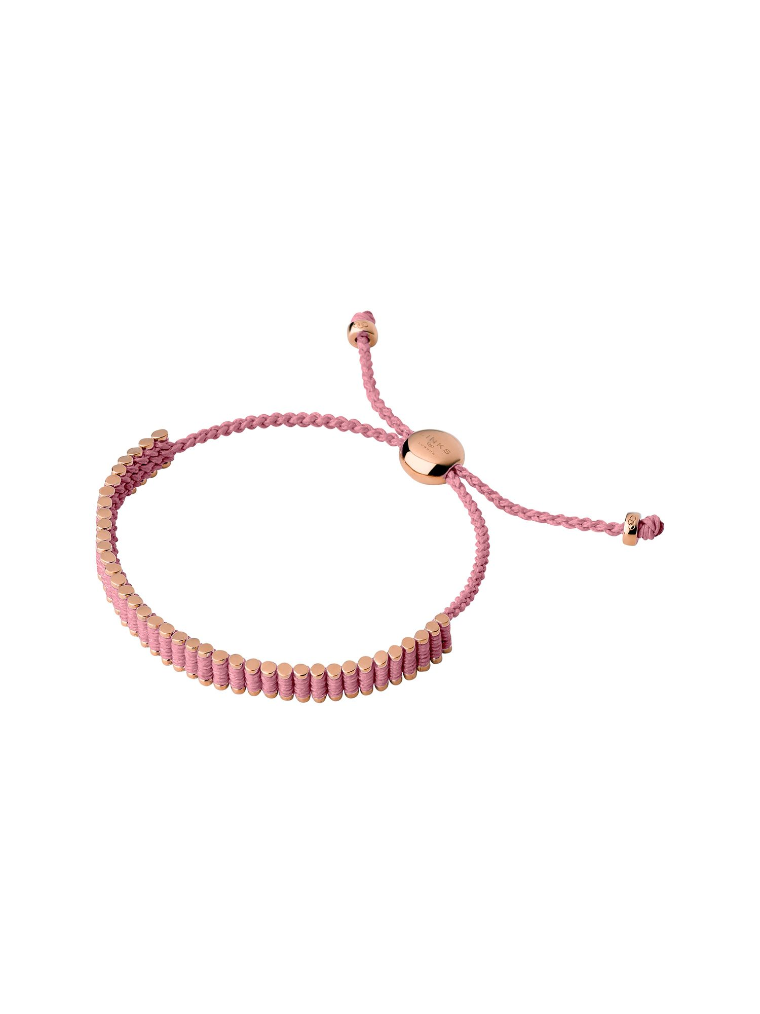 Links of London 18Kt Rose Gold Vermeil & Pink Mini Friendship Bra, Rose Gold