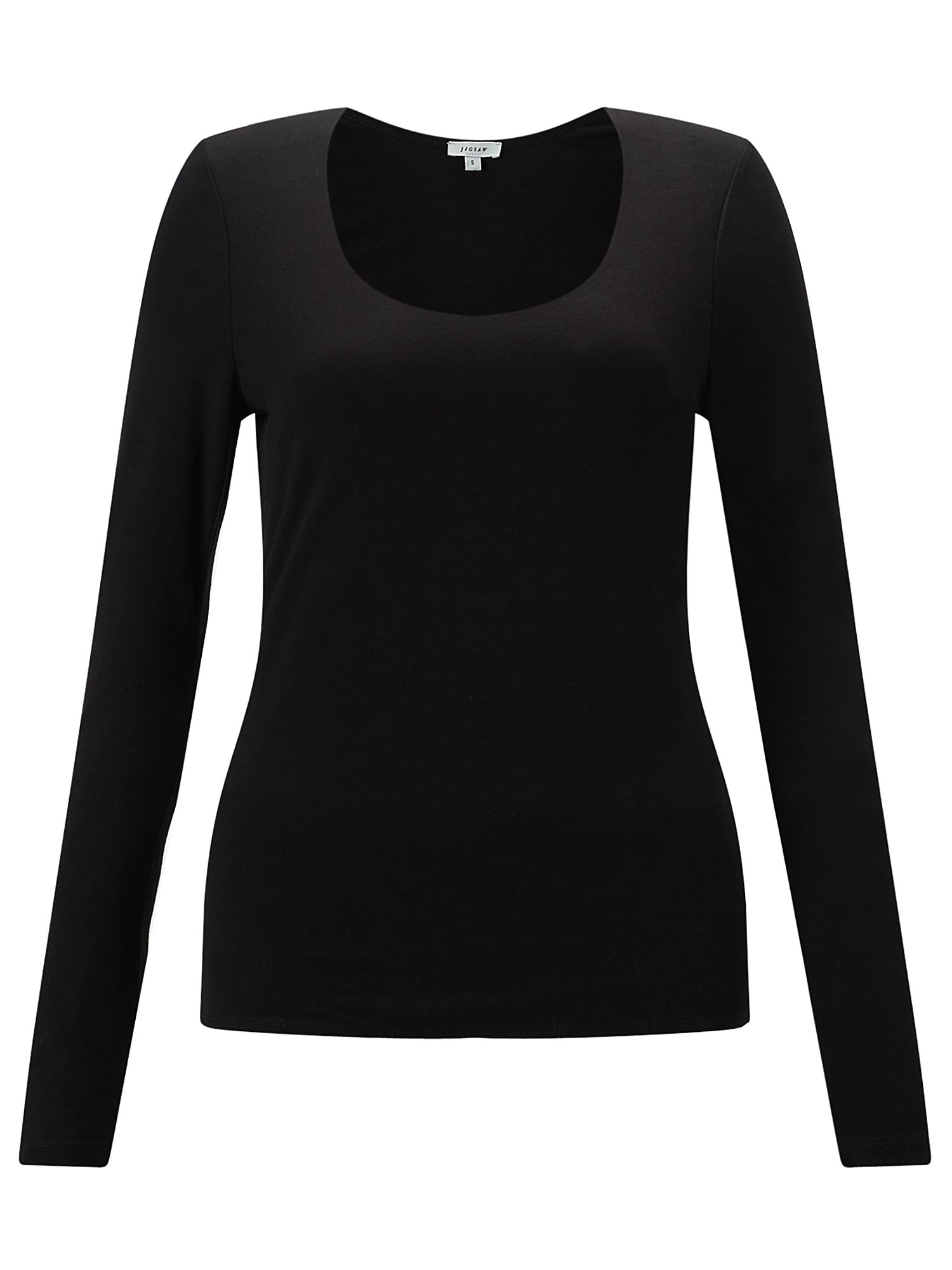 Jigsaw Double Front Scoop Tee, Black