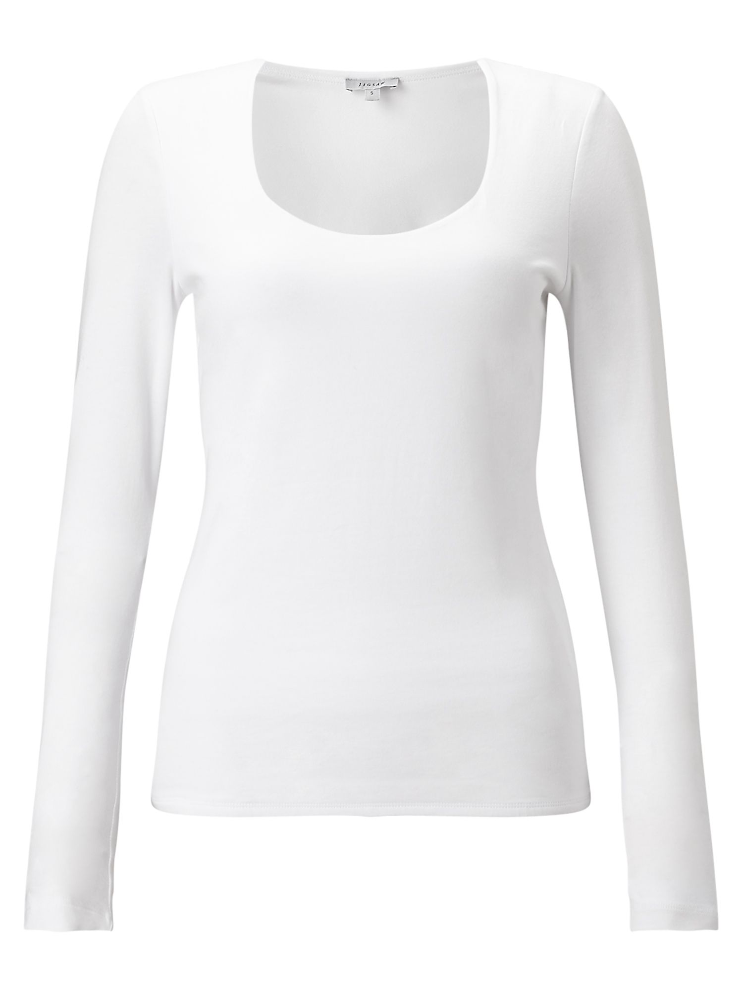 Jigsaw Double Front Scoop Tee, White