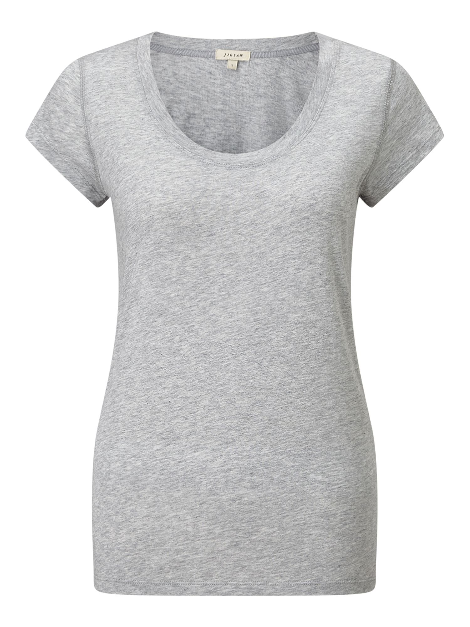 Jigsaw Pima Cotton Sslv Tee, Grey Marl