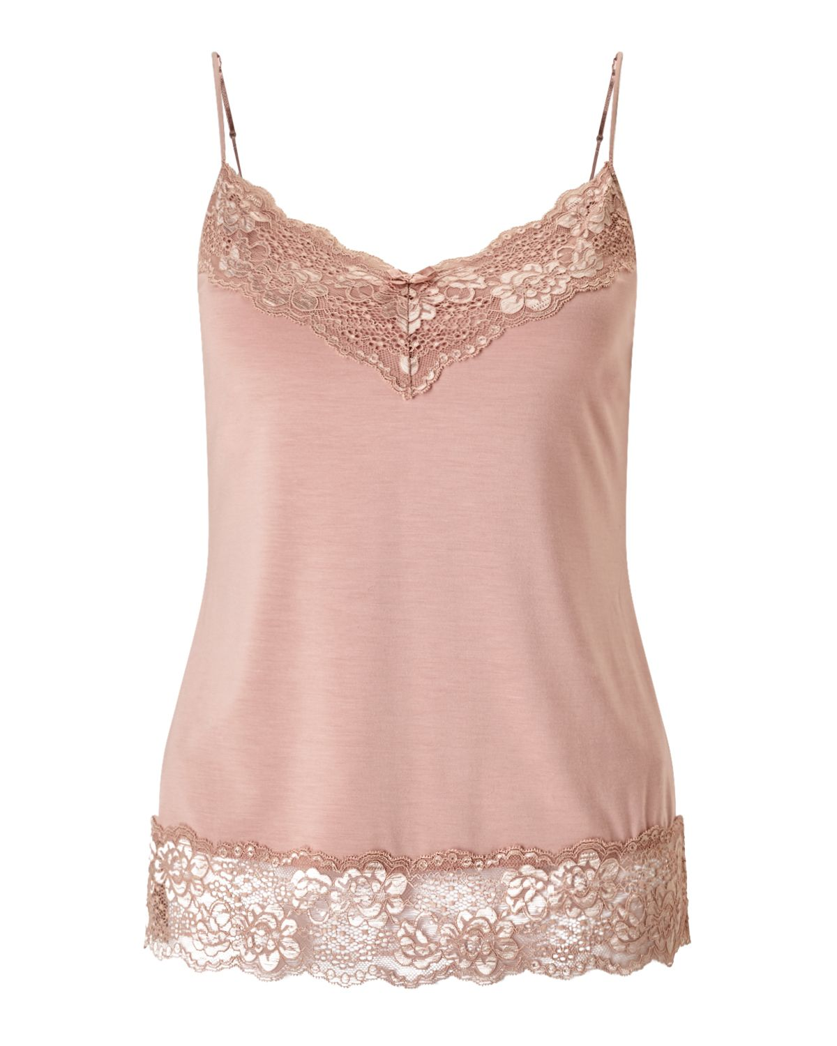 Jigsaw Modal Lace Vest, Rose