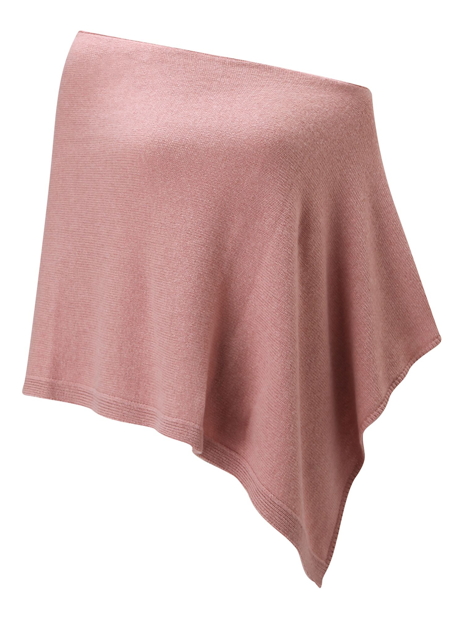 Jigsaw Jigsaw Knitted ribbed border poncho, Pale Pink