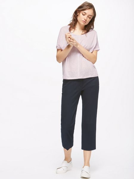 Jigsaw Seamed Linen Top W/silk Trim