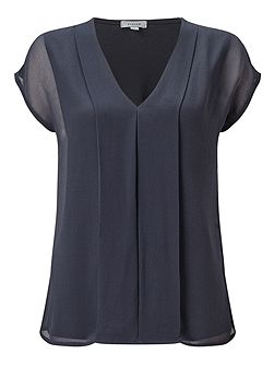 Silk Pleat Front Top