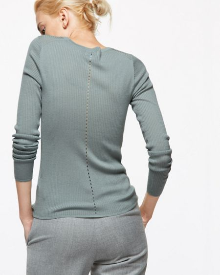 Jigsaw Rib Jumper With Back Pointelle