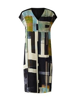 Cyanograph Block Silk Dress