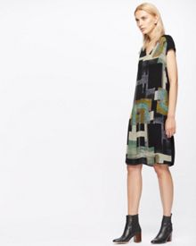 Jigsaw Cyanograph Block Silk Dress