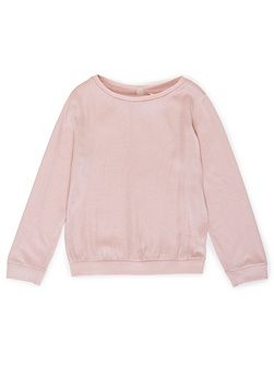 Girls Textured Front Long Sleeve Top