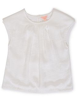 Girls Textured Front Short Sleeve Top