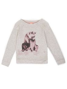 Jigsaw Girls Bear Print Sweatshirt