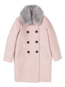 Jigsaw Girls Faux Fur Collar Coat