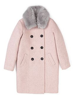 Girls Faux Fur Collar Coat