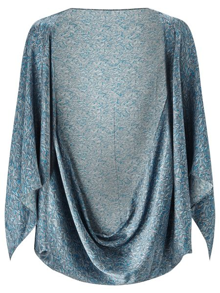 Jigsaw Linear Leaf Print Silk Cape
