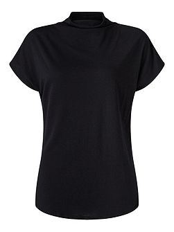 Turtleneck Cap Sleeve Tee